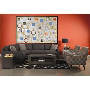Townsend Casual Three Piece Sectional Sofa By Rowe