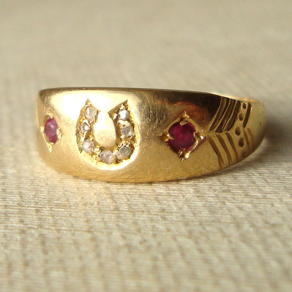 Antique Diamond Horseshoe Ring Diamond Ruby Engagement Ring 18k