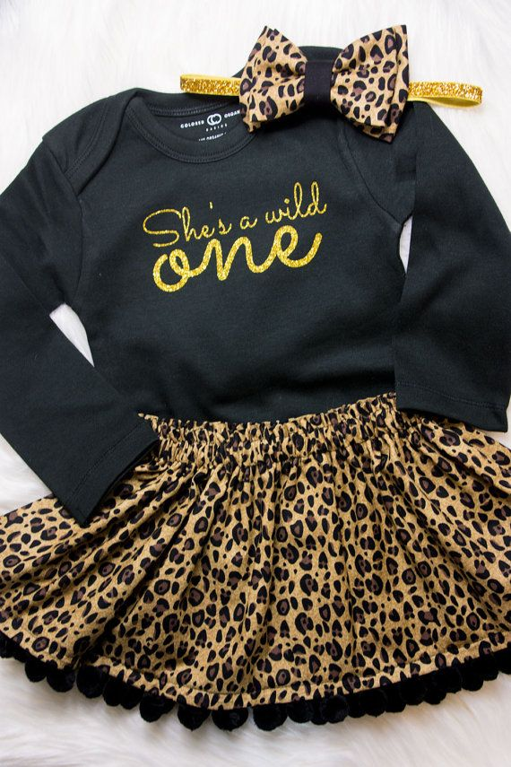 1d3e1435c She's a wild one first birthday outfit! Leopard print skirt and bow  headband!