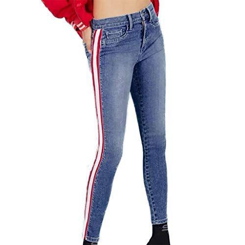 c1f55c7f601c Luckycat Hohe Taille Jeans Frau Seite gestrickt Patchwork Skinny Jeans  Lässige Hosen kurz geschnittene Stiefel Winter