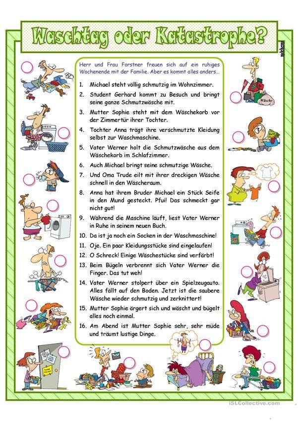 Waschtag oder Katastrophe? (A1/ A2) Deutsch lesen