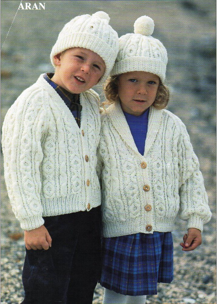 Baby childs childrens aran jackets knitting pattern PDF cable shawl ...
