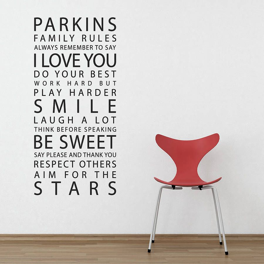 personalised family rules wall sticker by parkins on wall stickers for hall id=91917