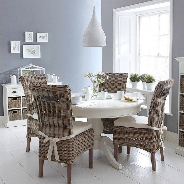 Round Pine Table Set Wicker Rattan White Shabby Chic Chairs Dining Room Kitchen Koyzina