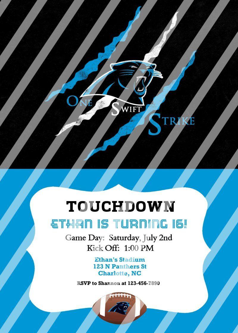 Carolina Panthers Personalized Party Invitation #31 (digital file ...