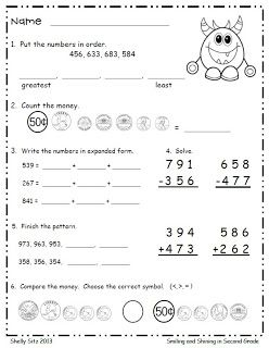 second grade math free monster math counting money expanded form 3 digit addition and. Black Bedroom Furniture Sets. Home Design Ideas