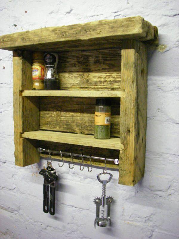 Driftwood Spice Rack shelves with utensil hooks | Driftwood ...