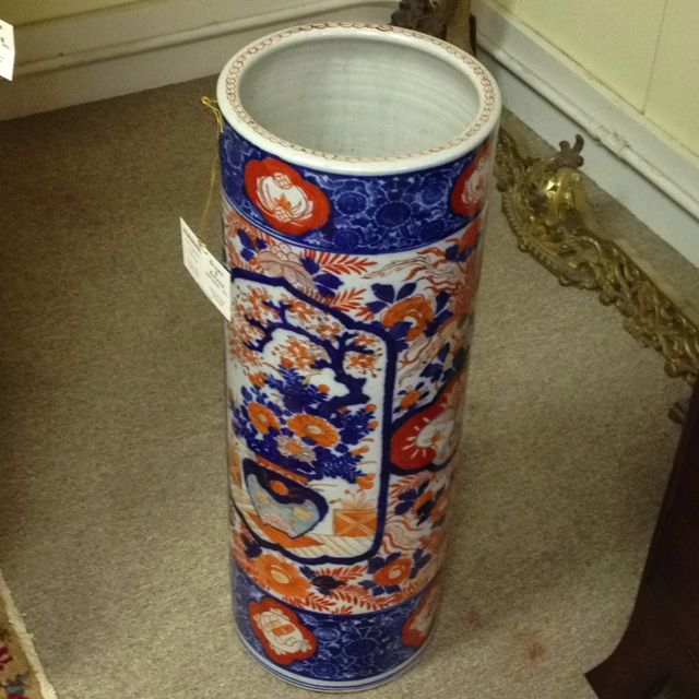 Imari Umbrella Stand - only one in stock at Crown and Colony Antiques.  Beautiful at your front door or side door to catch a rainy day umbrella!