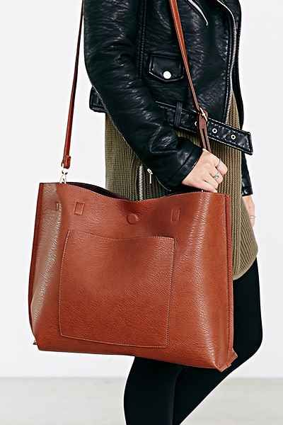 Reversible Vegan Leather Tote Bag  eceb69851