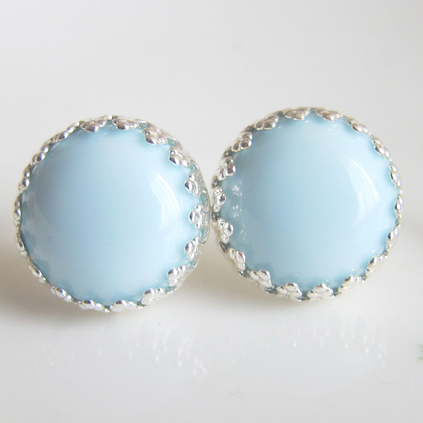 Blue Bridesmaid Earrings Light Pale Baby Wedding Milky