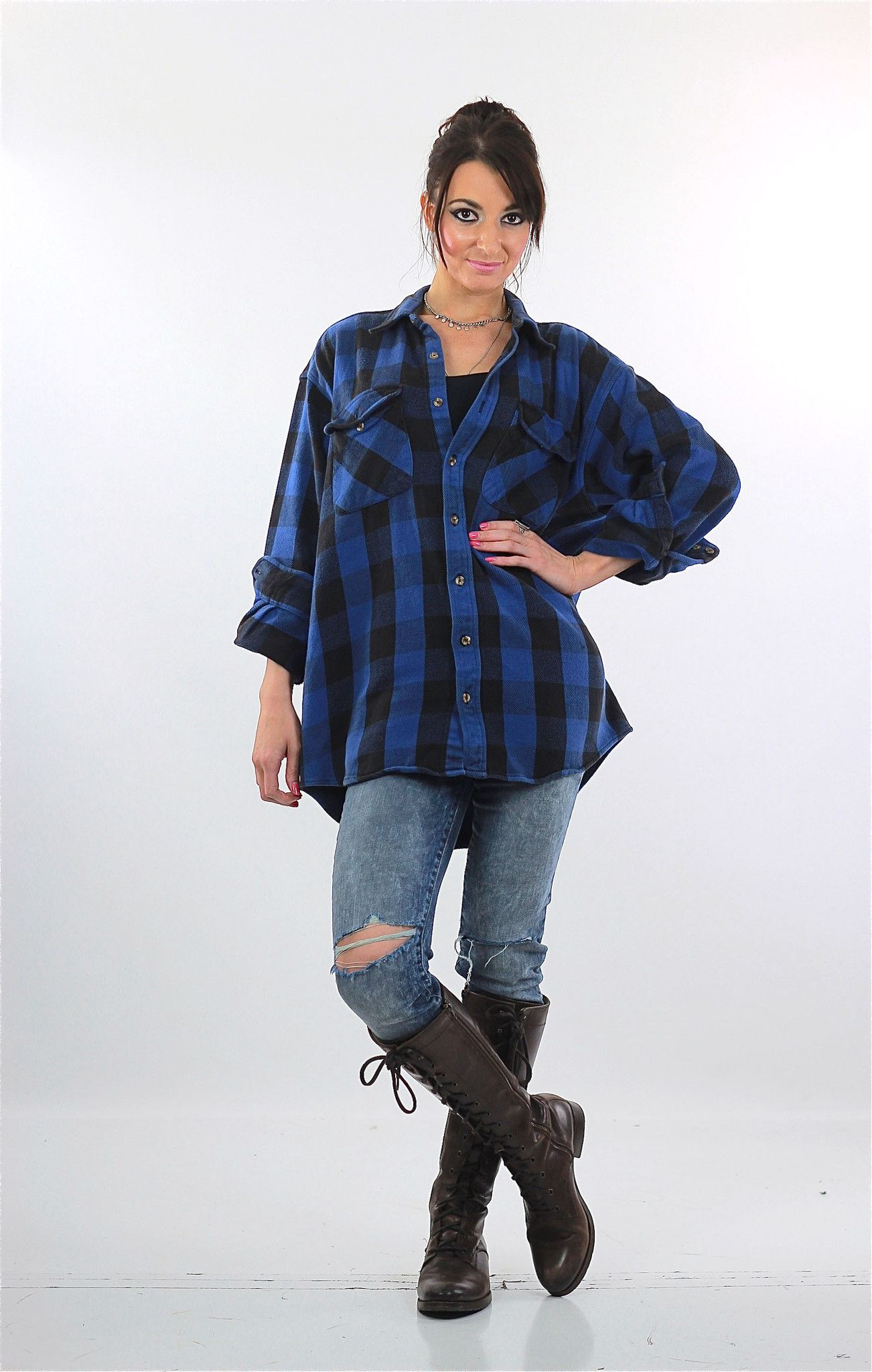 90s women fashion flannel  s Grunge Blue buffalo Plaid flannel shirt Oversized  fashion