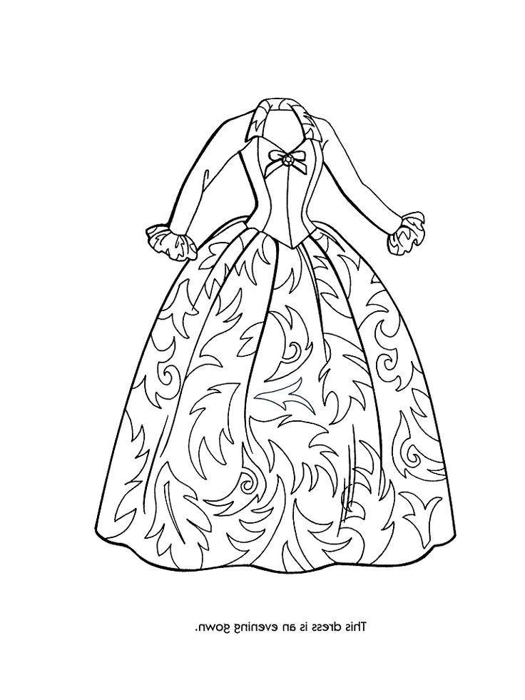 Dress With A Ribbon Coloring Page Stock Illustration