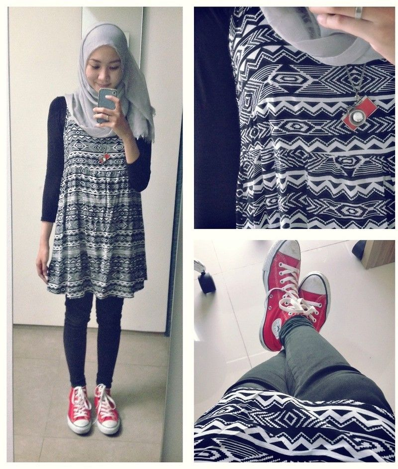 ootd casual hijab outfit : dress, converse, pashmina Black, white and Red  Syaifiena