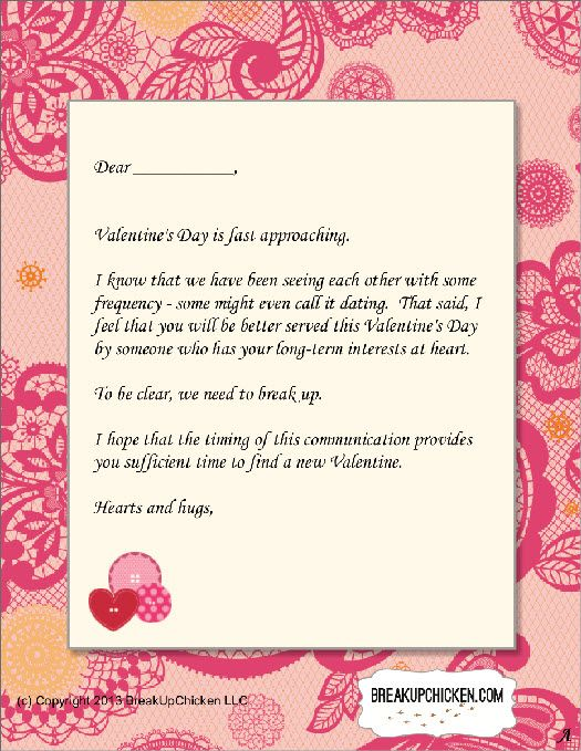 PreValentineS Day Breakup Form Letter A  Breakup Letters