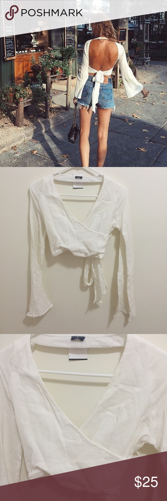 Brandy Melville open back top Cream open back bell sleeves top. No trades Brandy Melville Tops Tees - Long Sleeve