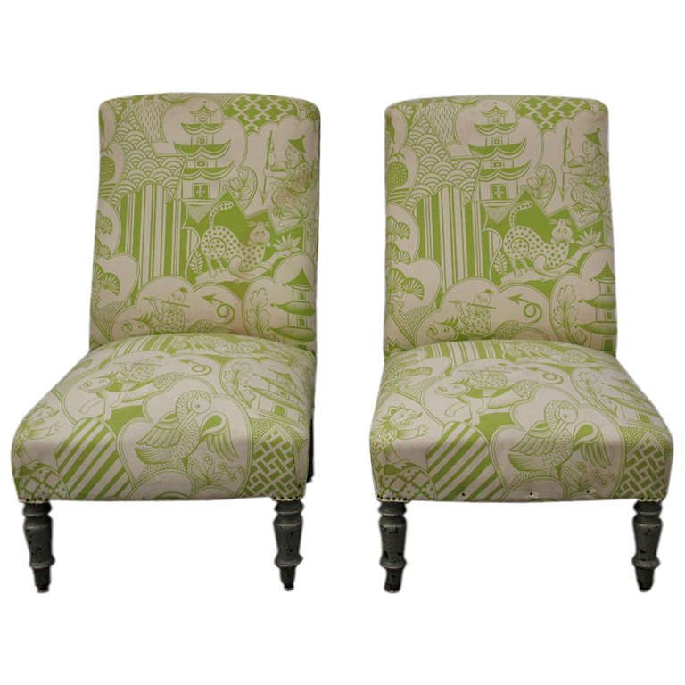 Pair Of Napoleon III French Slipper Chairs In Asian Inspired Upholstery |  From A Unique Collection