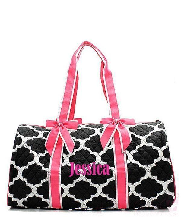 4de6d48510 Personalized Quatrefoil Large Quilted Duffel Bag - Pink   Black ...