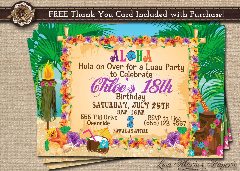 hawaiian party invitation luau birthday invitation luau – Hawaiian Party Invitations Printable