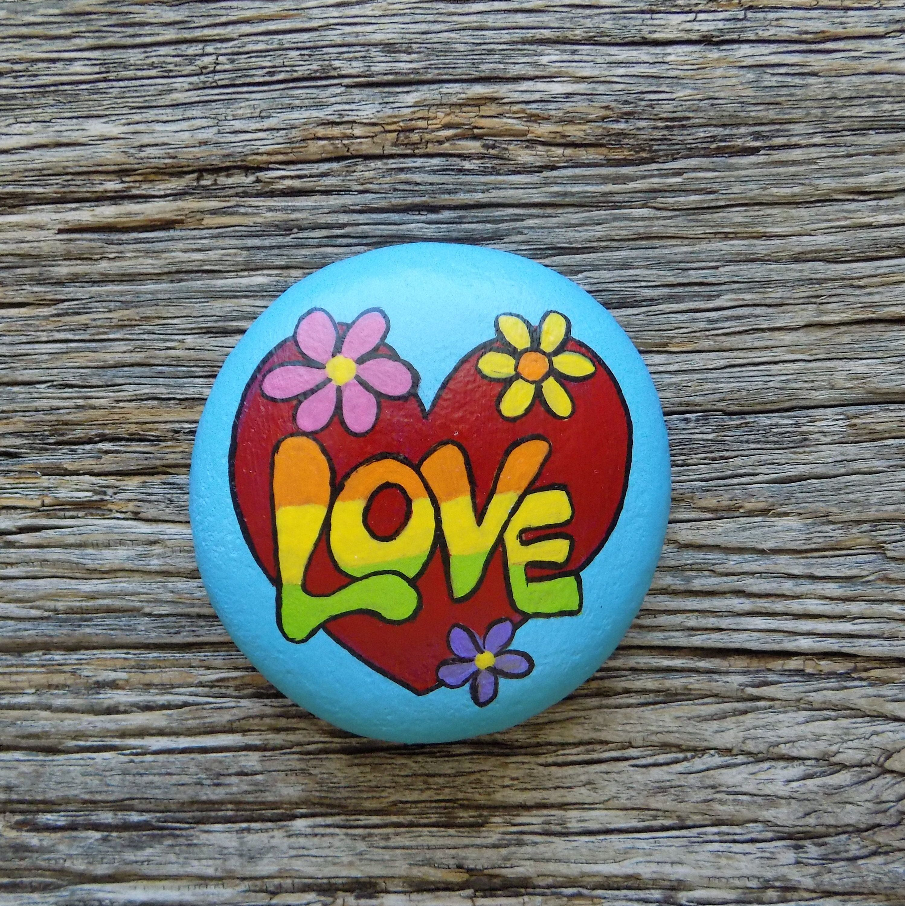Love Heart Painted Rock Decorative Accent Stone Paperweight In