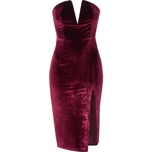 Burgundy Velvet Bandeau Bodycon Dress (€31) ❤ liked on Polyvore featuring dresses, burgundy, midi cocktail dress, bodycon dress, bodycon cocktail dress, purple bodycon dress and burgundy velvet dress