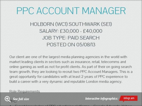 PPC Account Manager - to apply for this role, simply email your cv
