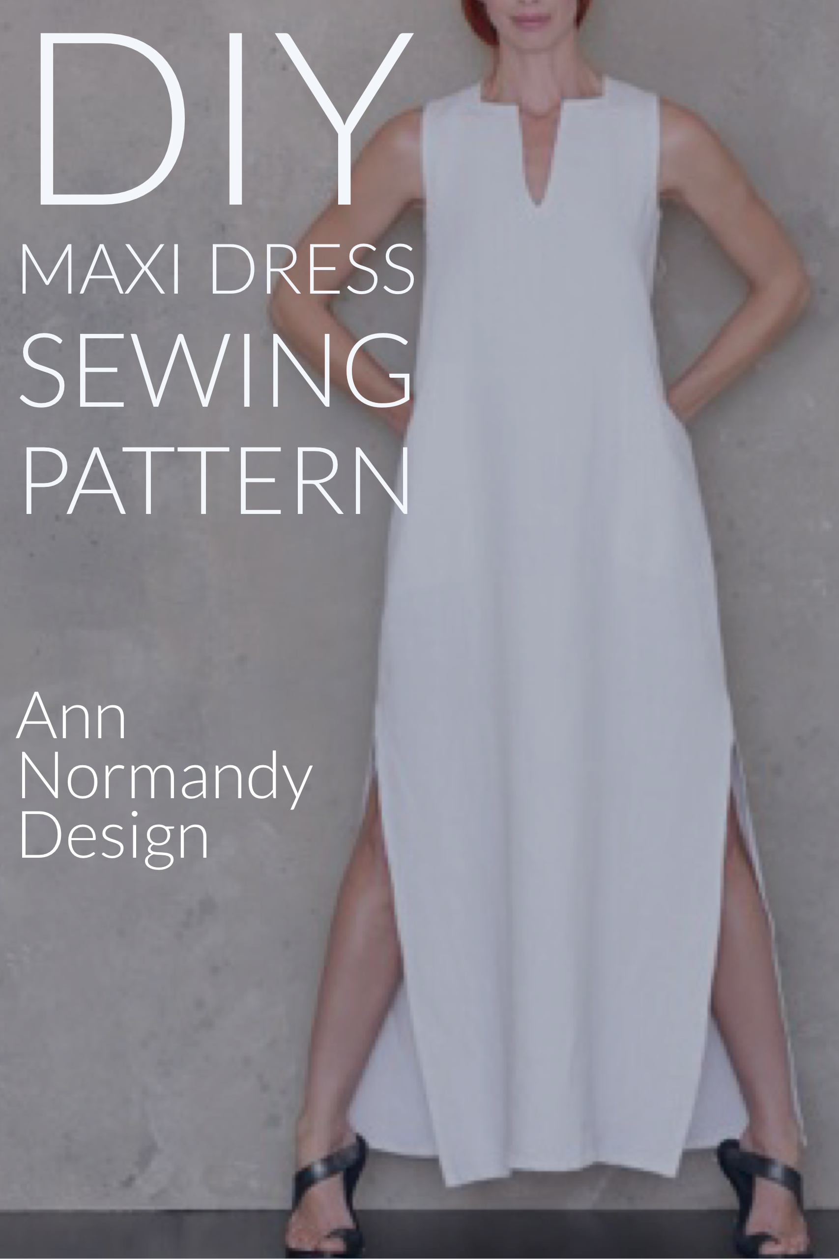 9bb67beaaec3 Full Length Dress, Maxi Dress PDF sewing pattern. Couture quality, long  dress pattern with timeless caftan style. With square and v neck, pockets  and side ...