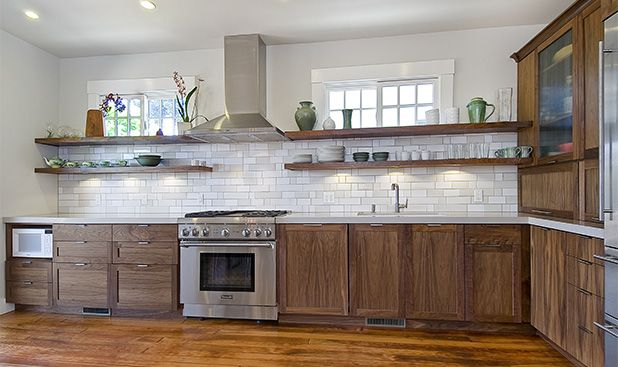 This Oakland Kitchen Was Designed By Lise Thogersen It Features Shaker And Veneer Doors Along Walnut Cabinetsdark