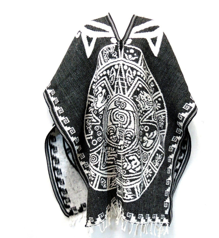 Amazon Com Authentic Mexican Poncho Reversible Cobija Blanket Aztec Calendar Black White Clothing Aztec Calendar Poncho Aztec Warrior