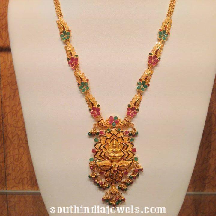 22k Gold bridal Lakshmi Haram design   Jewellery   Pinterest ...