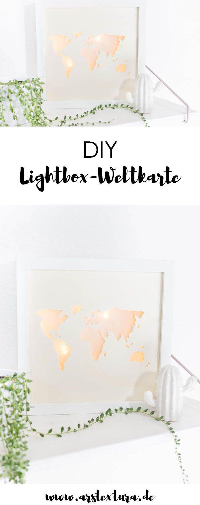 Beleuchtete Weltkarte - DIY Lightbox basteln #boyfriendgiftsdiy
