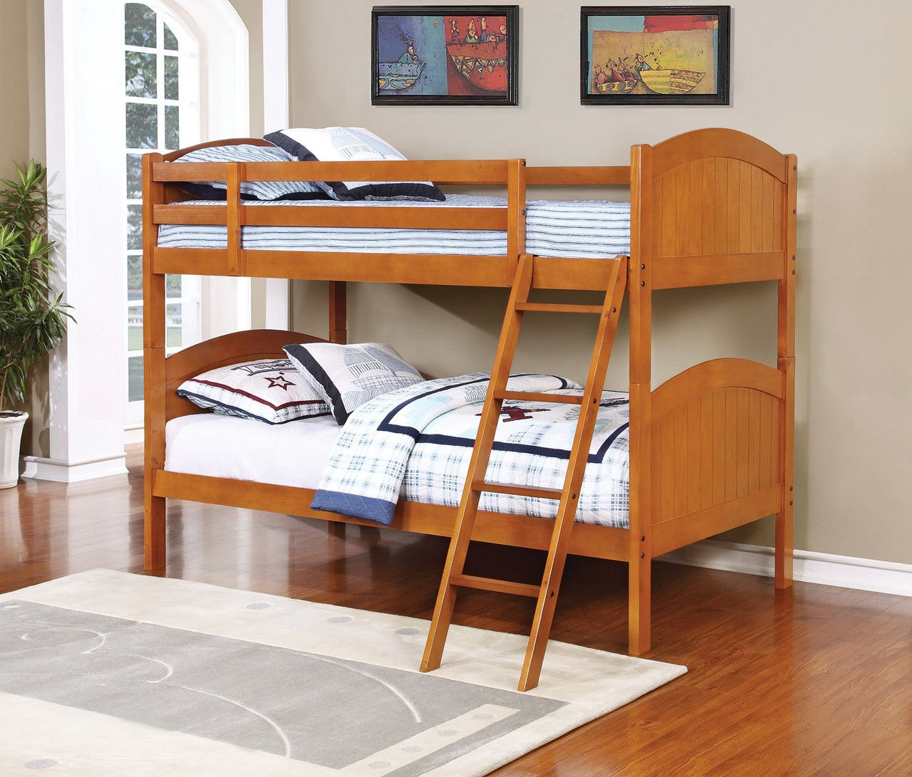 Pine loft bed with desk  Bunks Twin Over Twin Bunk Bed    Description Bunk bed