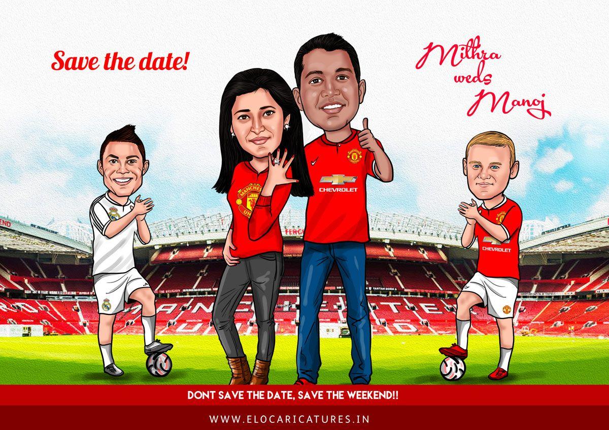 Manchester United theme Wedding Caricature! | Wedding caricatures ...