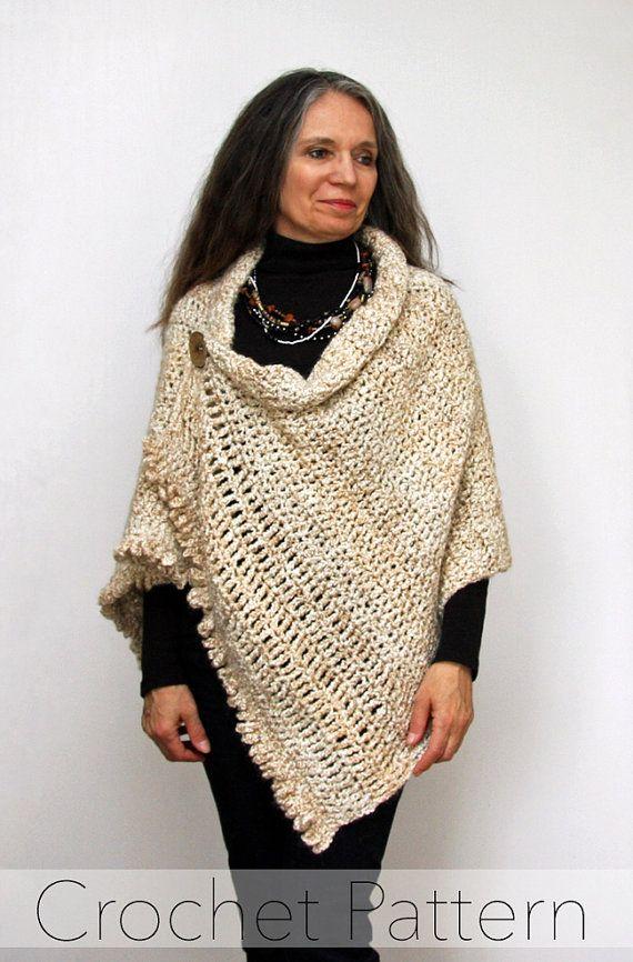 Easy Beginner Crochet Shawl PATTERN / Button Wrap / \