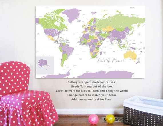 Large world map on canvas big world 32x48 inches travel artwork large world map on canvas big world 32x48 inches by urbantickle gumiabroncs Choice Image