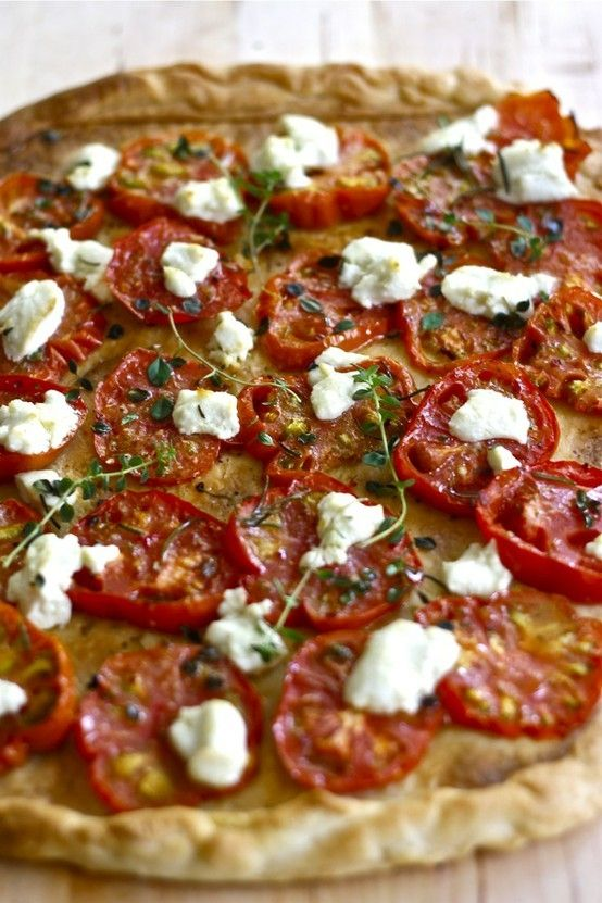 Tomato Galette with Goat Cheese & Thyme Recipe. Make it Gluten Free using Absolutely's Gluten Free Flatbread #AbsolutelyGF #Pizza #GlutenFree #Yummy #Recipes www.absolutelygf.com