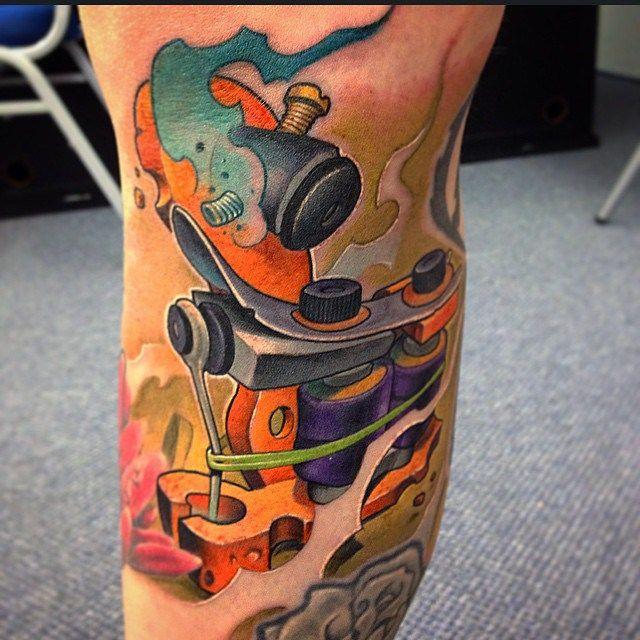 New School Tattoo Machine tattoo by Victor Chil ...