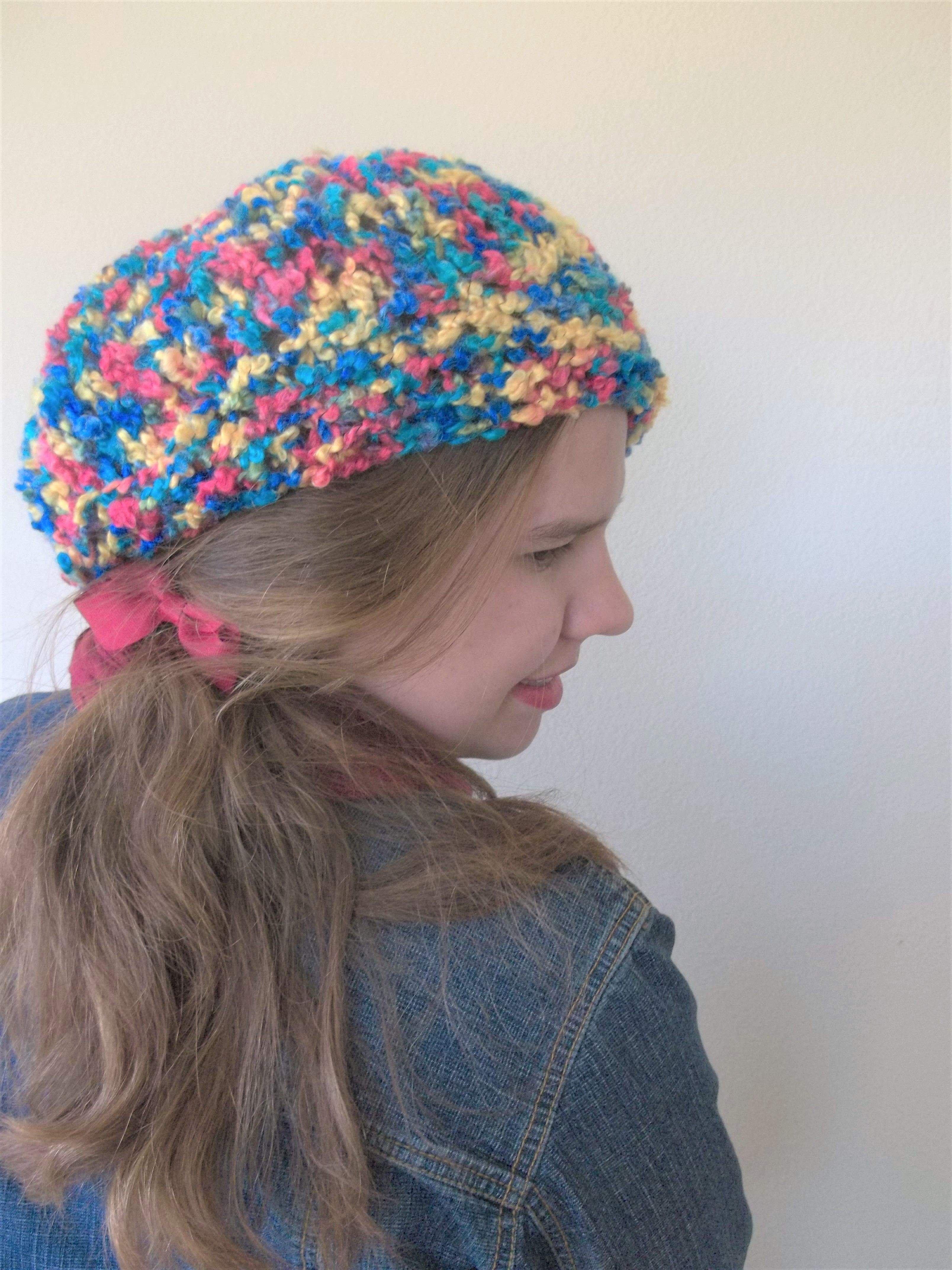 Ladies Hand Knitted Slouch Beanie PinkTurquoise