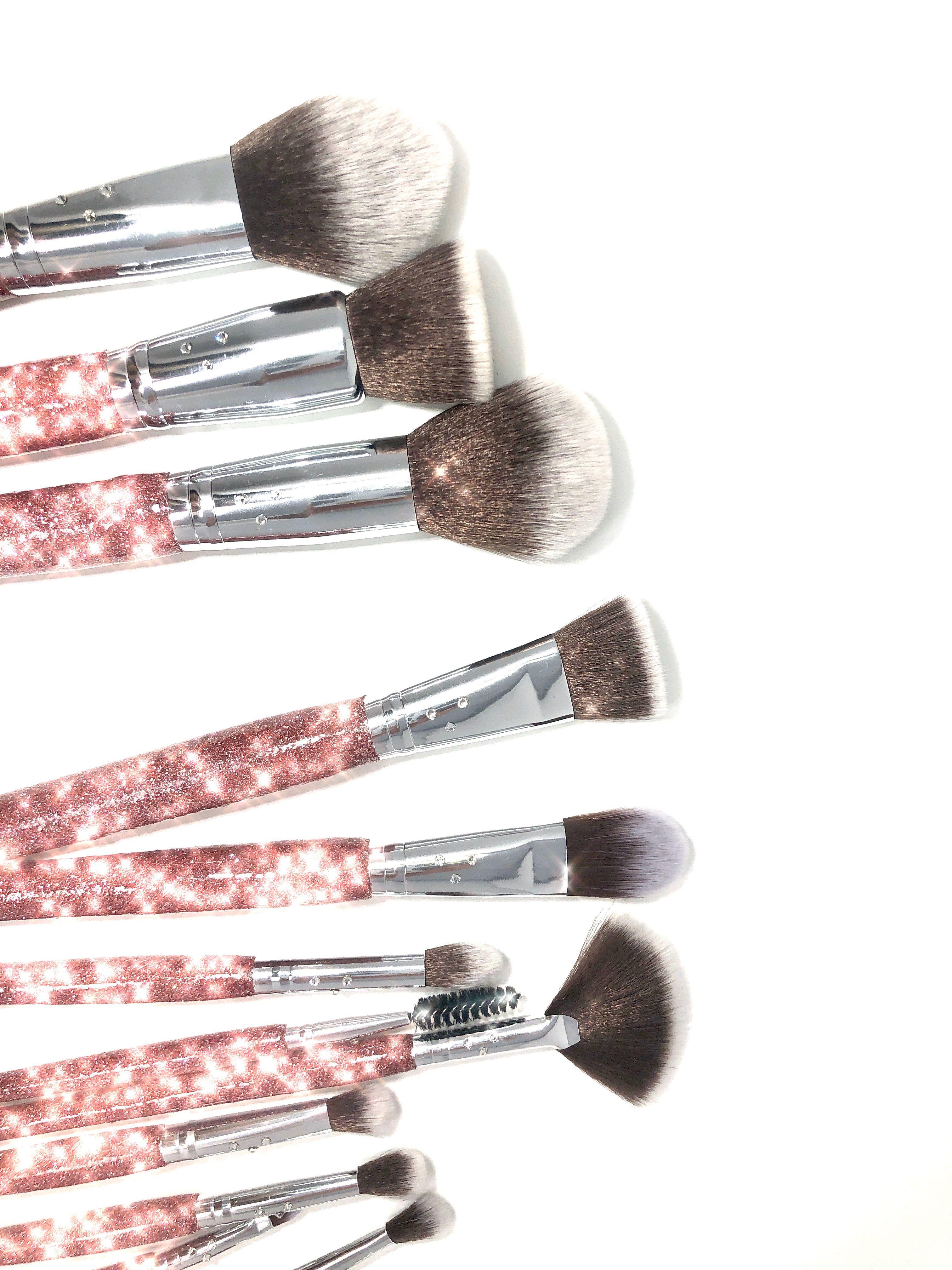 Glitter Swarovski Crystal Makeup Brush Set of 14 Rose Pink