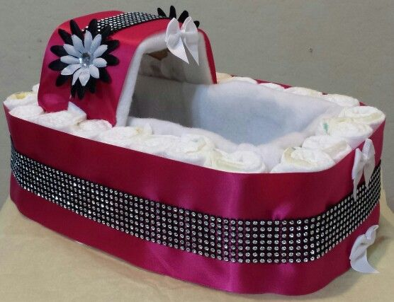 Hot Pink bling bassinet diaper creation visit us at www.etsy.com and search nothingbuttcakes for purchases