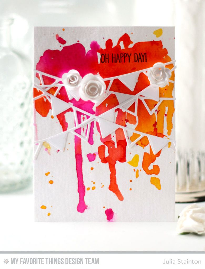 Banner Day Watercolor Card by Julia Stainton featuring MFT Stamps