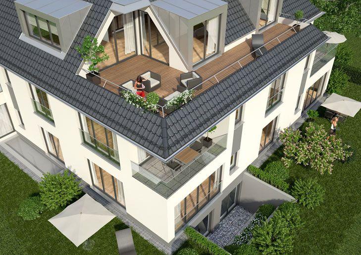 Dieses Neubauprojekt in Unterhaching verfügt über Privatgärten in allen Erdgeschoss-Wohnungen. Jede Obergeschoss-Wohnung überzeugt mit einem großzügigen Balkon.