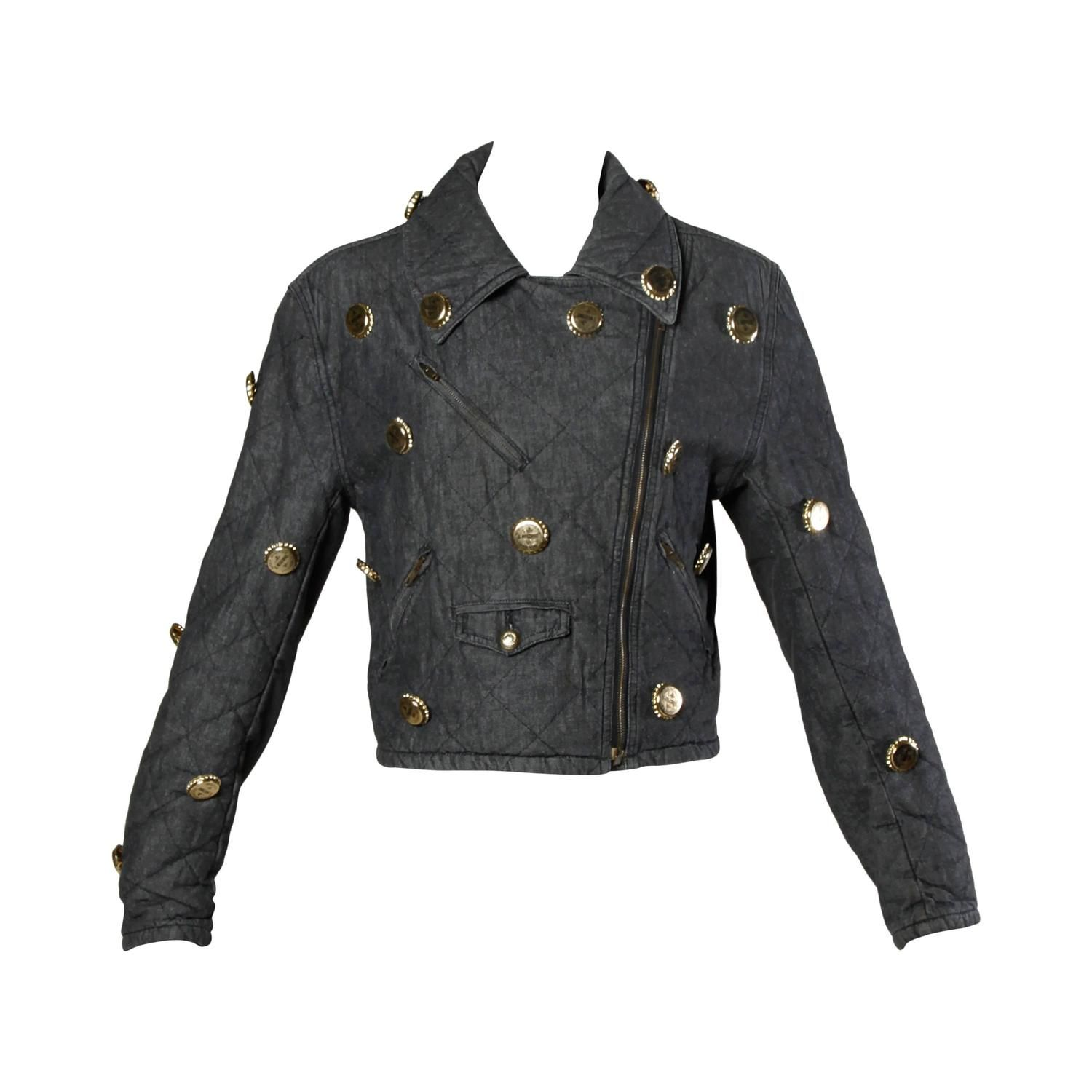 Moschino Vintage Quilted Denim Biker Jacket with Bottle Cap Appliques | From a collection of rare vintage jackets at https://www.1stdibs.com/fashion/clothing/jackets/