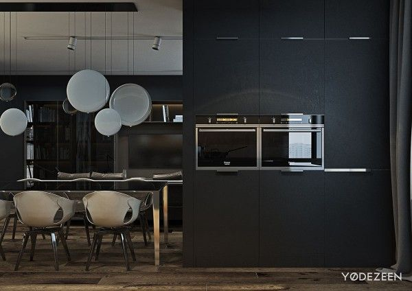 A dark and calming bachelor pad with natural wood and concrete bachelor pad