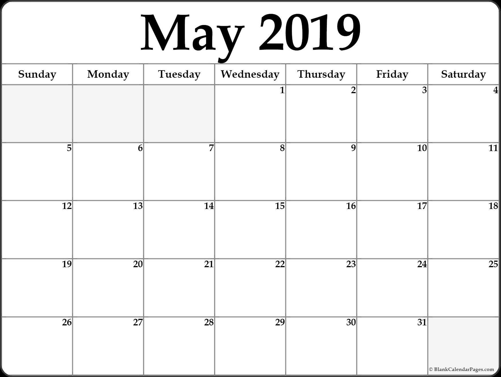 May 2019 Blank Template Printable Blank Calendar Calendar Word