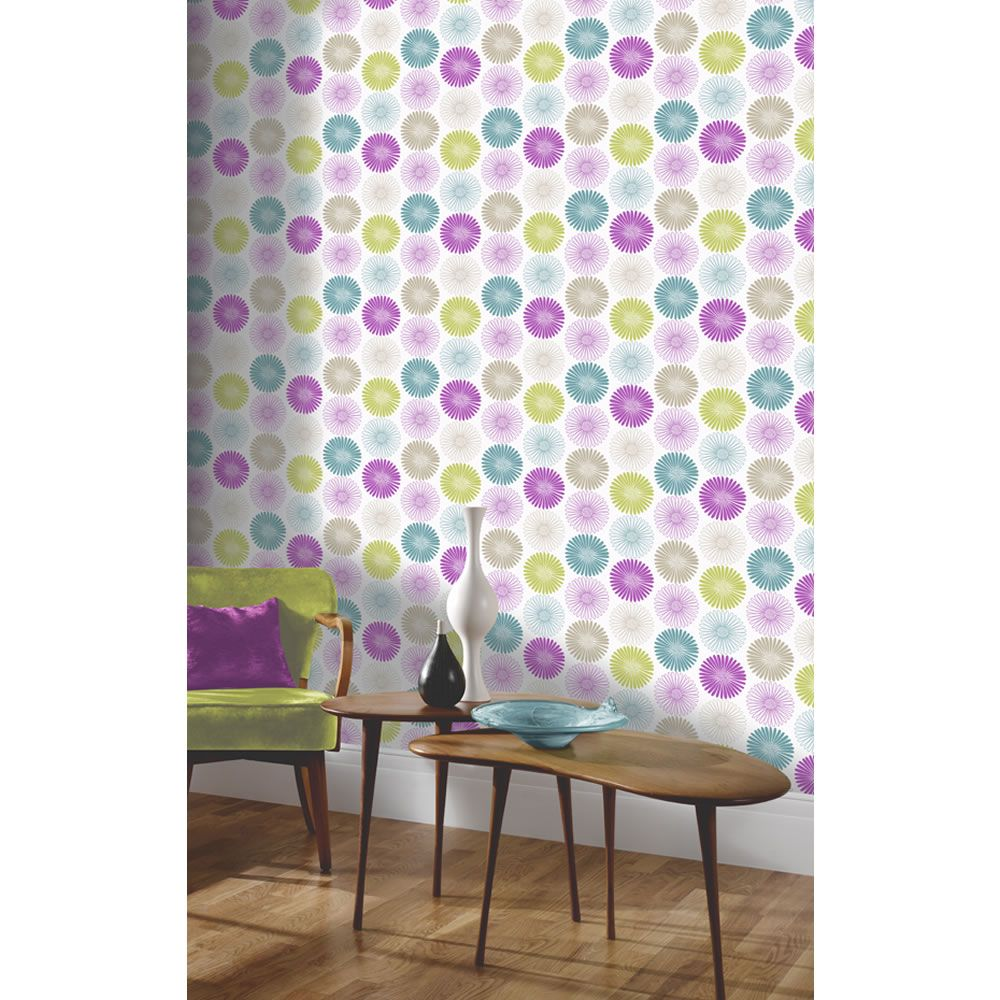 Arthouse Opera Daisy Aqua/Plum Wallpaper Geometric