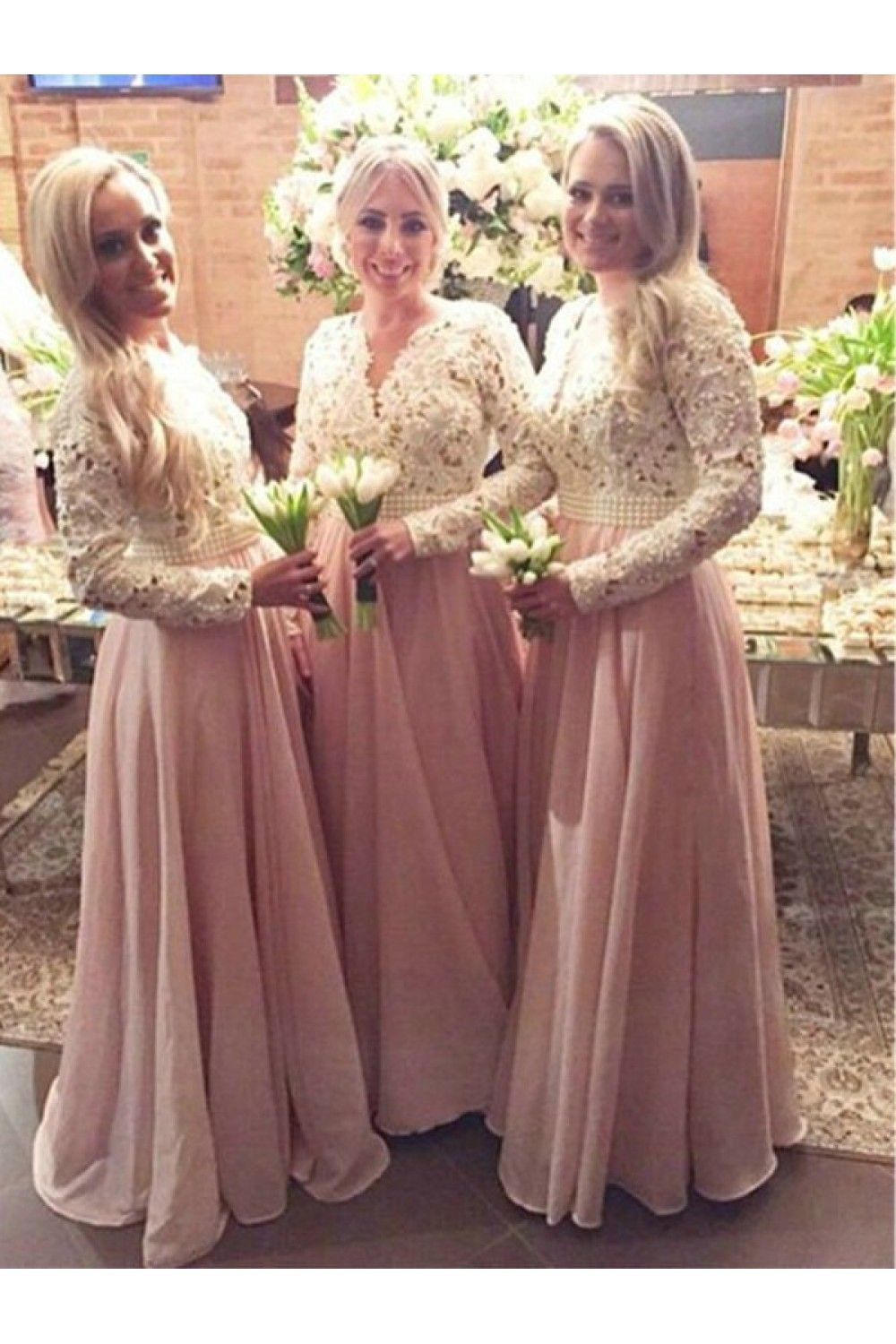 A Line Beaded Long Pink Lace Floor Length Bridesmaid Dresses 3010412 In 2020 Long Sleeve Bridesmaid Dress Lace Chiffon Bridesmaid Dress Lace Bridesmaid Dresses