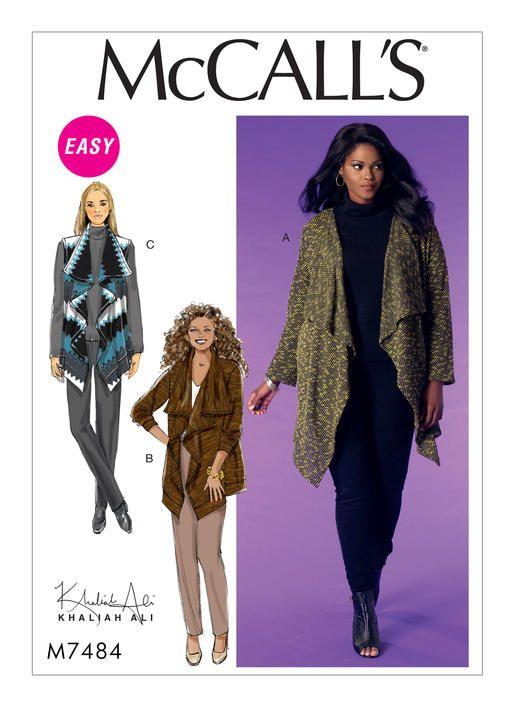 McCall\'s sewing pattern by Khaliah Ali. M7484 Misses\'/Women\'s Draped ...