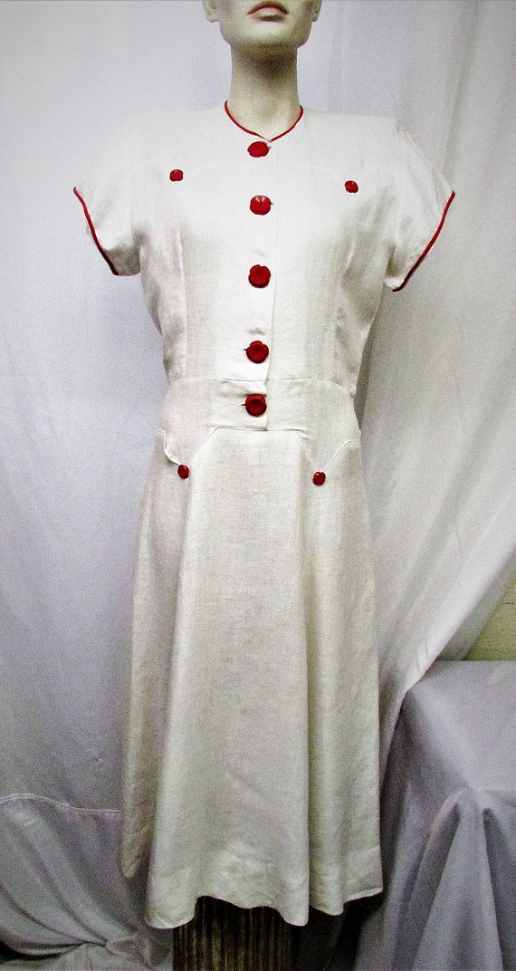 Vintage 1930\'s 1940\'s Dress White Linen with Red Buttons Day Dress ...