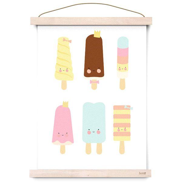 #Poster - #Popsicle #Parlour door #EefLillemor #ijsjes #icecream #kidsroom #nursery #kinderkamer #babykamer #littlethingz2