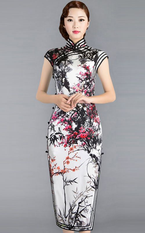 9a9309bef Cherry blossom floral black and white Chinese silk qipao cheongsam dress 002